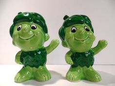 Vintage Salt and Pepper Shakers: Little Green Giant Sprout Salt & Pepper Shaker Set