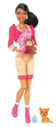 Barbie I Can Be Zoo Keeper African-American Doll by Mattel. $12.73. Code inside each package unlocks career-themed content online. Includes Nikki doll, baby monkey and tiger, and bottles. Nikki is dressed in khaki shorts, a jacket and boots with pink details. Collect all your favorite Barbie I Can Be dolls. Girls can play out the role of pet zoo keeper. From the Manufacturer                Barbie I Can Be Zoo Keeper African-American Doll: Now girls can explore the r...