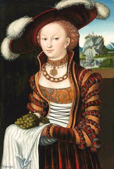 Cranach I, Lucas - Magdelena of Saxony / Lady holding grapes. 1528  Bildnis…