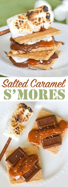 Salted Caramel, Chocolate and Marshmallow. these s'mores can be made indoors or out! No Bake Desserts, Easy Desserts, Dessert Recipes, Yummy Treats, Sweet Treats, Yummy Food, Summer Snacks, Summer Bbq, Summer Recipes