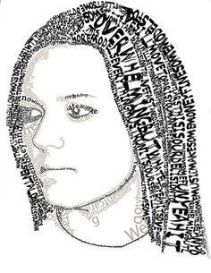 Katie Endres , Typography Portrait. Leslie Taylor's Graphic Design 3 Class Strath Haven High School