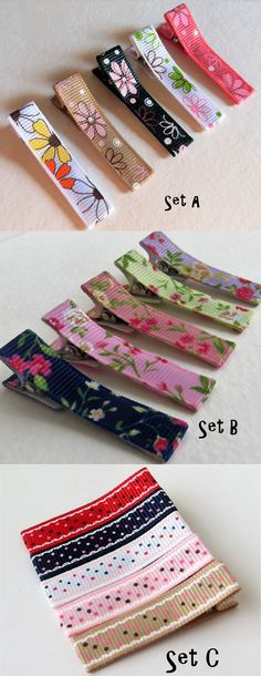 Choose your coordinated set of 5 girls hair clips. Three cute sets to choose from: polka dots or flower hair barrettes.