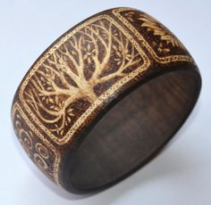 Wooden bangle original pyrography woodburning. by tricianewell