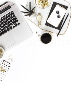 In the shop: black, white and gold styled blogger desktop