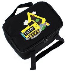 Personalised Black Lunch Bag - Digger