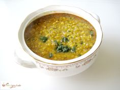 Daal Tadka or tempered lentils made in the slow cooker using yellow split Toor lentils and a simple tempering of spices.