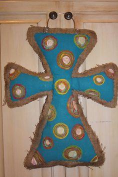 Handpainted Burlap Cross Door Hanger