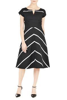 I <3 this Chevron stripe piped trim poplin dress from eShakti