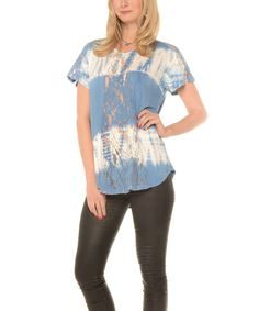 This Blue Stripe Lace-Panel Top - Plus is perfect! #zulilyfinds