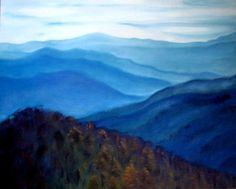 Smoky Mountains In Tennessee: Paintings Impressionism Board Canvas Oil Landscape Mountain Nature Scene Natalja Picugina