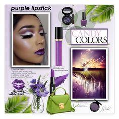 """Beauty Trend We Love: Purple Lipstick"" by eula-eldridge-tolliver ❤ liked on Polyvore featuring beauty, LSA International, NYX, Revlon, Laura Geller, OPI and MAC Cosmetics"
