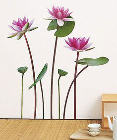 Lotus & White Water Lilly Wall Decal Set
