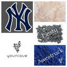 Coordinate Yankee colors with Younique eye pigments <3  sweetsassysappysour.com  #younique  #eyepigments  #yankee  #baseball #sweetsassysappysour