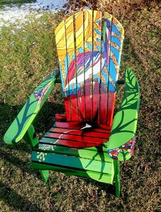 Painted pelican, hibiscus adirondack chair.