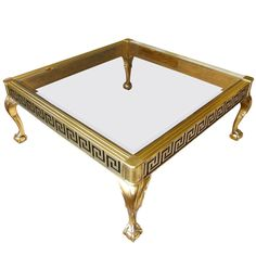 Mastercraft Brass and Glass Cocktail Table with Greek Key Meander For Sale Brass Console Table, Brass Coffee Table, Coffee Tables, Modern Dining Room Tables, Glass Dining Table, White Accent Table, Accent Tables, Greek Key, Beveled Glass