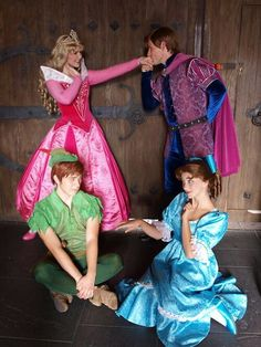 Aurora & her Prince are standing#sleeping beauty and Peter & Wendy are sitting#Peter Pan