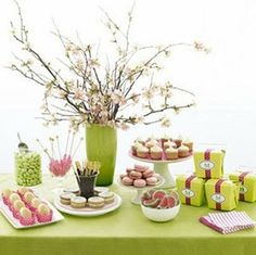 pink and green food table
