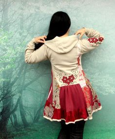 Floral embroidered sweatshirt recycled dress tunic.