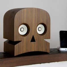 Desktop speakers, this is a really cool idea not just for skulls but any shape, the eyes would wiggle!