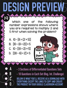 Order of Operations ★ 5th Grade Google Classroom ★ Parentheses & Brackets 5.OA.1 Order Of Operations, 5th Grade Math, Math For Kids, Common Core Standards, 5th Grades, Google Classroom, Teaching Ideas, Fifth Grade