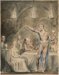 """""""The Magic Banquet with the Lady Spell-Bound"""" Illustrations for John Milton's Comus by William Blake"""