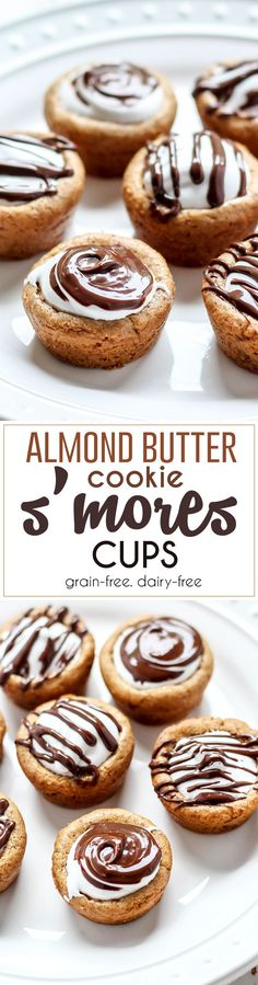 Almond Butter Cookie S'mores Cups. Grain-free, paleo-friendly option! Seriously you must make these.