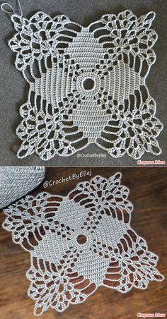 Crochet lace tablecloth square with flower and diamonds motif. Many beautiful filet crochet valances, curtains, doilies etc. Crochet Square Patterns, Crochet Blocks, Crochet Doily Patterns, Crochet Squares, Crochet Designs, Crochet Doilies, Crochet Flowers, Knitting Patterns, Chevron Crochet
