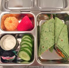 """""""For my high schooler's first PlanetBox in her new Launch: A ham & cream cheese Garden Spinach Herb wrap, a cutie, a huge(!) strawberry, cucumber & dip, a white cheddar Babybel, and an Andes mint. Can't wait to see if she likes it!"""" Thank you to Emily (@funwithlunches on Instagram) for sharing this with us! #PlanetBox #lunchbox #food #yummy www.planetbox.com"""