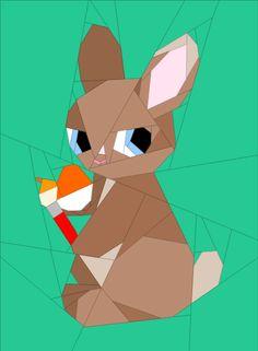 "Painting Bunny - 12 x 14"" Paper Pieced Patterns quiltartdesigns.blogspot.com"