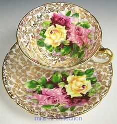 Stanley Gold Gilt & Roses Pattern Tea Cup And Saucer Set