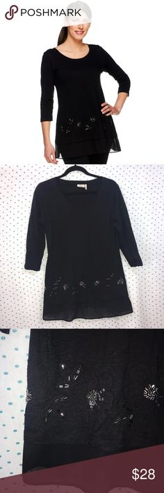 LOGO Lori Goldstein Cotton Slub Embellish Top * LOGO by Lori Goldstein Black Cotton Slub Embellished Top with Trim * Size Small * Made of 100% cotton. Woven is 100% polyester.  * Pre-owned, but in excellent used condition. No holes, stains or pilling. * Measurements: Underarm to underarm is 18 1/2 inches. Length is 27 1/2 inches. LOGO by Lori Goldstein Tops Blouses