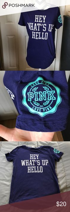 🎀PINK TEE🎀 Vs PINK navy blue with teal accent on sleeve with white writing super cute no fading no peeling!! Size medium bundle and save 10%!!! PINK Victoria's Secret Tops Tees - Short Sleeve