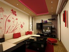 Black And Red Living Room With Floral Design