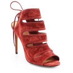 Aquazzura Sloane Cutout Suede Open-Toe Ankle Boots