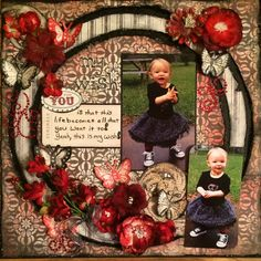 """I could see this scrapbook layout with a large circle being used as a """"circle of life"""" theme using photos of a baby and grandmother or grandfather."""