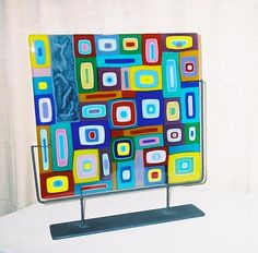 Collage with Drawings by Barbara Galazzo: Art Glass Sculpture available at www.artfulhome.com