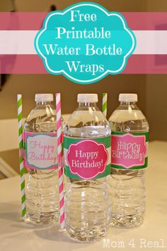 Free Printable Water Bottle Label Wraps from www.mom4real.com #paperstraws