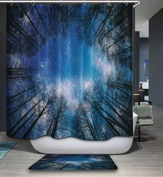 Night Starry Natural Scenery 3D Pattern Polyester Fabric Waterproof Shower Curtain 12pc Hooks Mildew Resistant Bathroom Decor #Affiliate