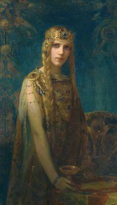 "The Pre-Raphaelite This is ""Isolde"" by Gaston Bussière a French Symbolist painter and illustrator. Wow Art, Gaston, Fine Art, Art History, Amazing Art, Awesome, Renaissance, Art Nouveau, Fantasy Art"