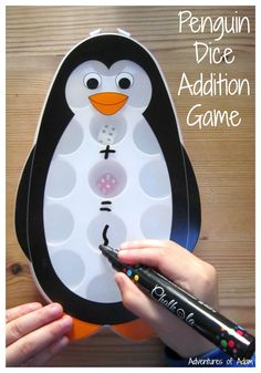 Penguin Dice Addition Game Busy Bag. Practise simple addition sentences using this penguin ice cube tray. Write the number sentence, rub off and start again.