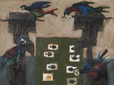 Albert Tucker, Gamblers and parrots, 1960 National Gallery of Australia This painting is so striking IRL because of its textures - the scraped-out spades, and the layers of colours and scraping on the birds. - AM, viewed Aug 2015 NGA