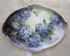 HAND-PAINTED-PLATTER-TRAY-PORCELAIN-PAINTING-SIGNED-SUE-POWELL-16-LARGE