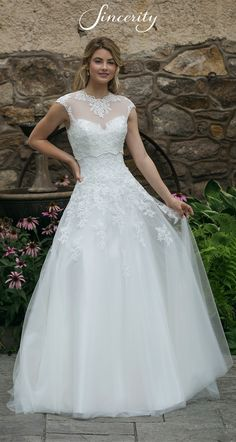 Sincerity Bridal - Style Allover Lace Sweetheart A-Line Gown with Jacket Wedding Dress Gallery, Wedding Dress Pictures, Sexy Wedding Dresses, Bridal Dresses, Wedding Gowns, Bridesmaid Dresses, Elegant Dresses, Romantic Wedding Colors, Gown With Jacket