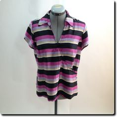 Emma James Purple Pink Black Wrapped Top Petite 12