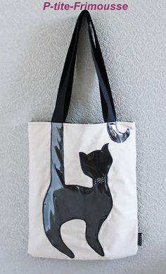 """Tote bag, sac original pour femme, fille, thème """" Le chat"""" doublé. : Sacs…"""