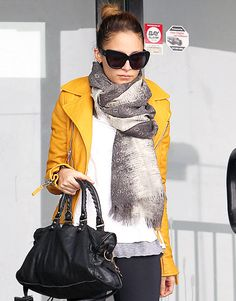 love the colorful leather jacket on Nicole Richie