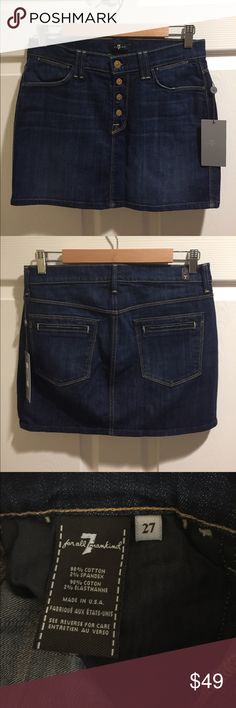 """7 For All Mankind Denim Miniskirt BNWT Dark wash 6-pocket miniskirt by 7 For All Mankind. Exposed button fly. Waist flat: 15.5"""", Length: 14"""". Size 27. Brand new with tags! 7 For All Mankind Skirts Mini"""