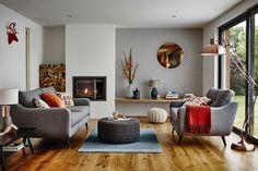 copper living room, mid century modern idea