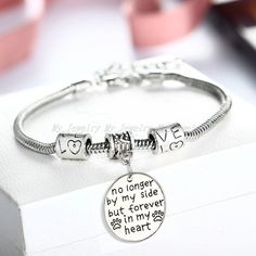 2016 Women Charm Hot Party Family Bangle Bracelet Love Words Charm Beads Gifts #New #Bangle