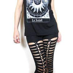 Rocker festival black cotton mid waist jersey leggings with cut out corset lace up front. Very sexy and comfortable to wear! Available in sizes: